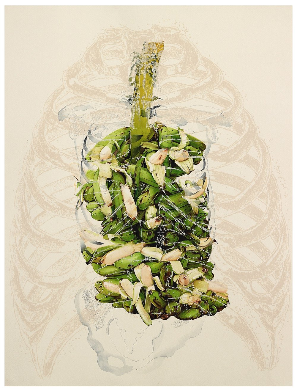 V. Ramesh, 'Body/Offering', 2014, watercolour and gouache on paper, 24 x 18 in. Image courtesy Gallery Threshold.