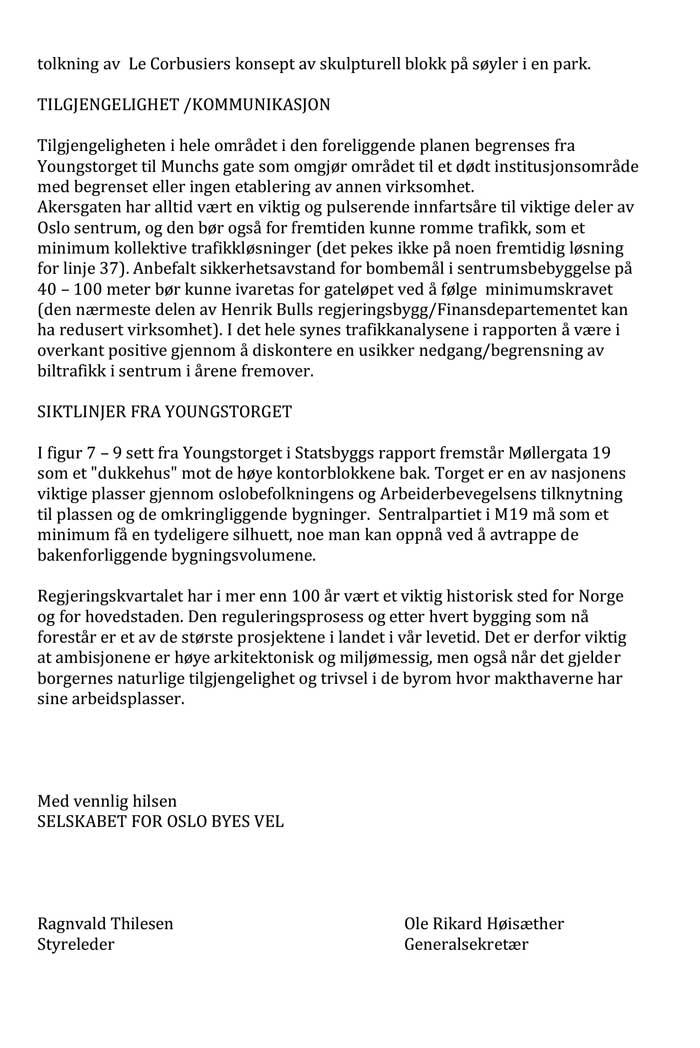 Oslo Byes Vel, Høringsuttalelse om Regjeringskvartalet
