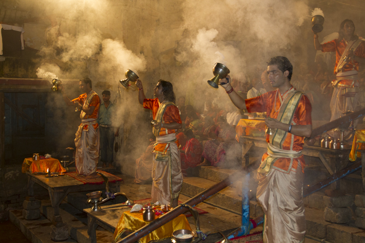 The nightly Puja on the banks of the Ganges in Varanassi.