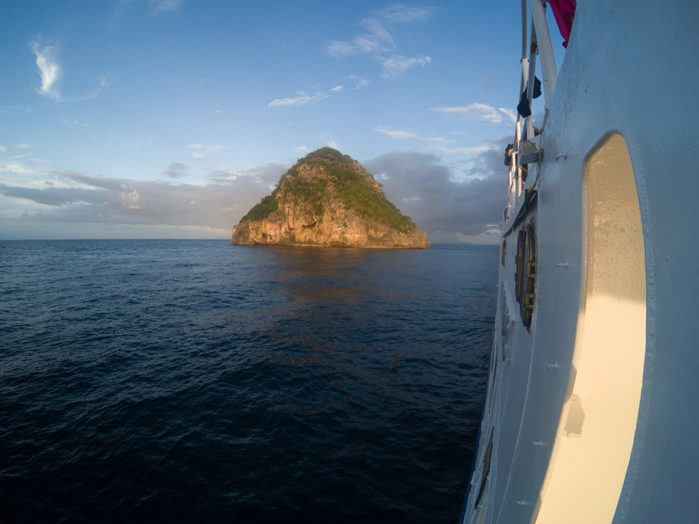 Approaching Gato Island at dawn.
