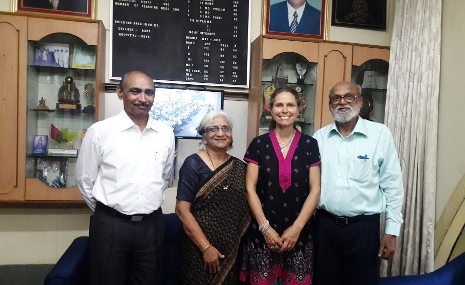 Cristina with Dr. Abhijit Patil, Director of the College of Ayurveda, Vidyapeeth University, Pune India - with Professors of Nuclear and Environmental Chemistry, Drs. Ashok and Minu Gijare.