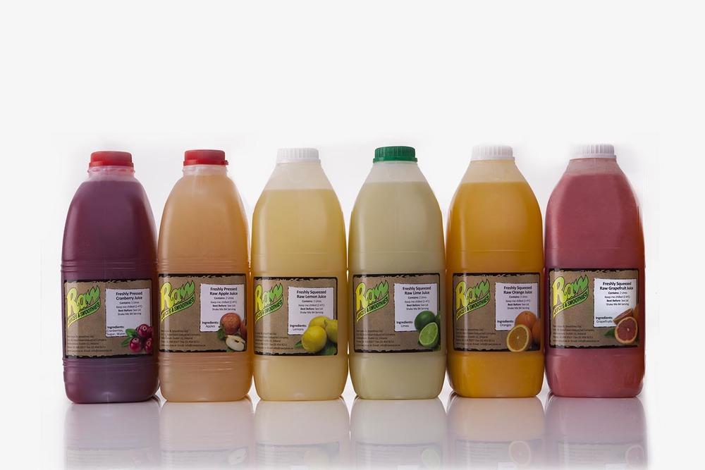 Gamme de jus de fruits, en studio pour Raw Juices