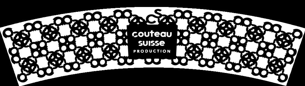 Dentelle créée par Anne Wodrascka sur la base du logo de Couteau Suisse prod
