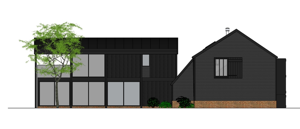 Traditional black weatherboard abd glass in Swavesey residential barn conversion by Harvey Norman Architects