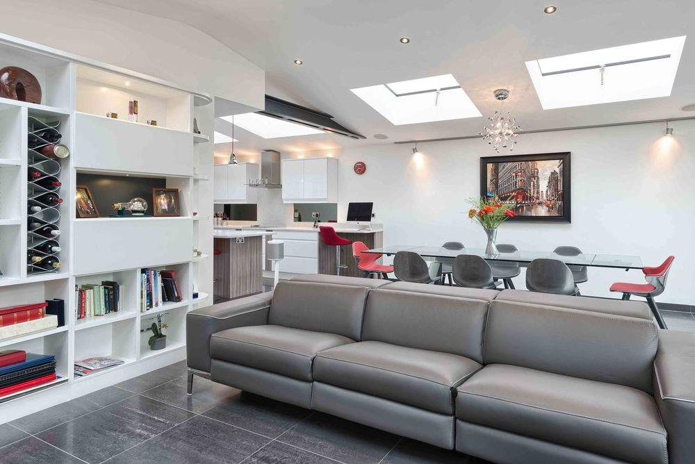 Seating area sofa of a modern house extension by Harvey Norman Architects St Albans