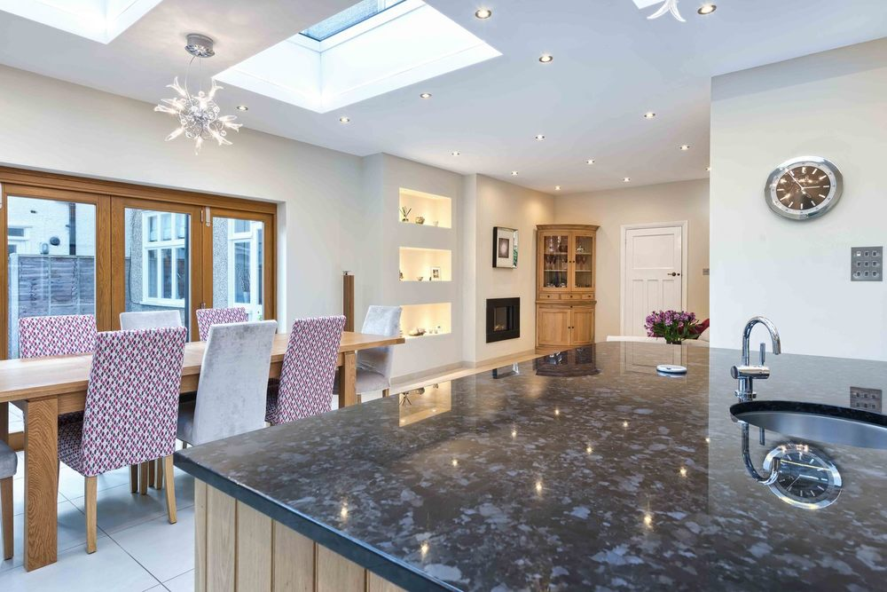 The kitchen counter a house extension by Harvey Norman Architects St Albans