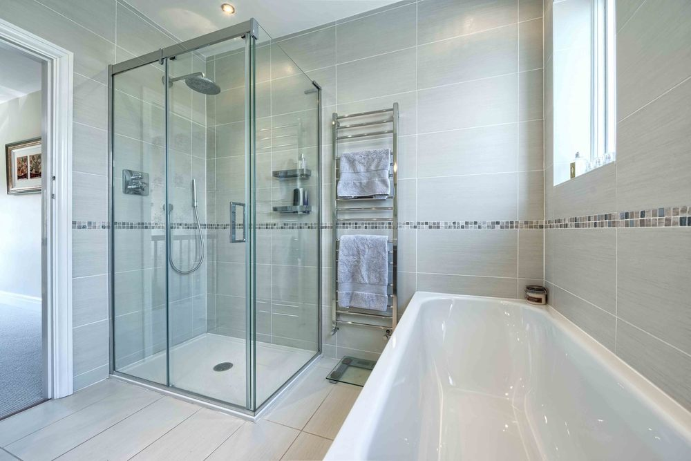 The bathroom and shower a house extension by Harvey Norman Architects St Albans