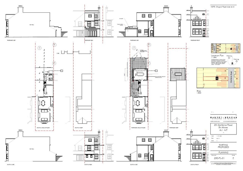 Architectural plans for a single storey extension on a Victorian terrace property
