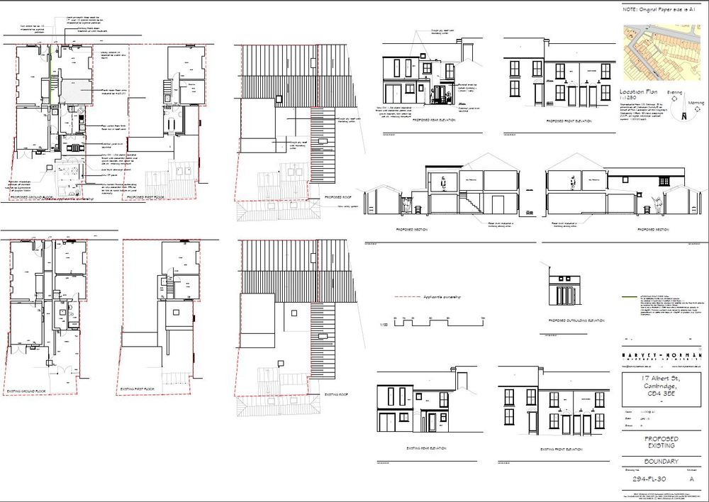 Architectural plans for extension to two Victorian properties in a Cambridge conservation area