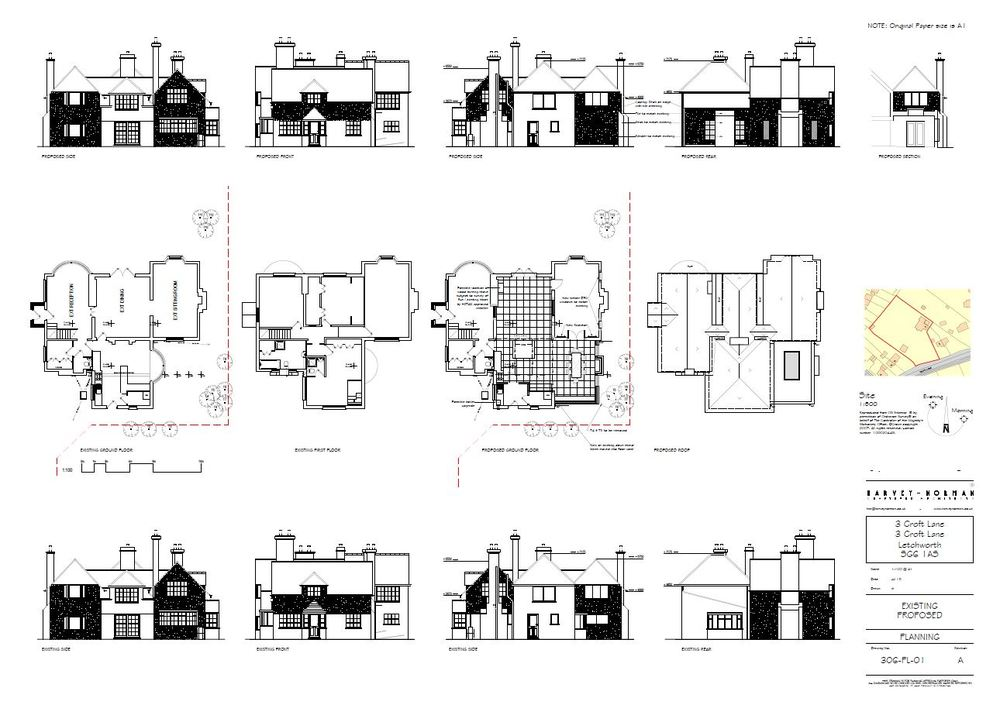 Architectural plans for original 1905 house refurbishment in Letchworth Garden City