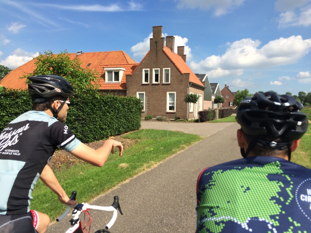 Host #1 Geert rides with us across the Belguim-Netherlands border.