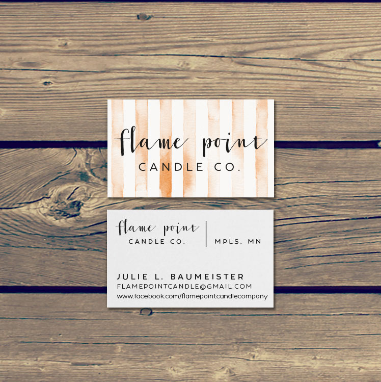 Flame point candle co logo design product tags business cards mockupflame point bus cardsg colourmoves Choice Image