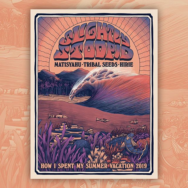 Poster art for the @slightlystoopid summer tour ☀️🌊. Always a pleasure 🤙  #illustration #art #design #poster #tour #music #slightlystoopid #summer #2019 #california #waves #ocean