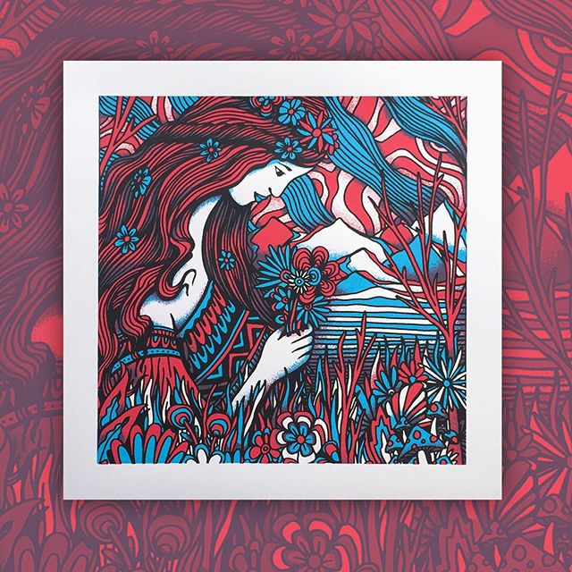 """Bouquet"" art print. 12""x12"" 3-color screenprint. Edition of 💯 🌸"
