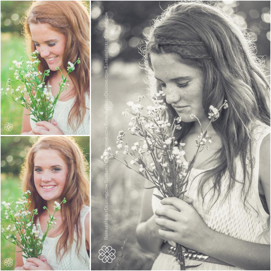 beautiful senior girl in a field