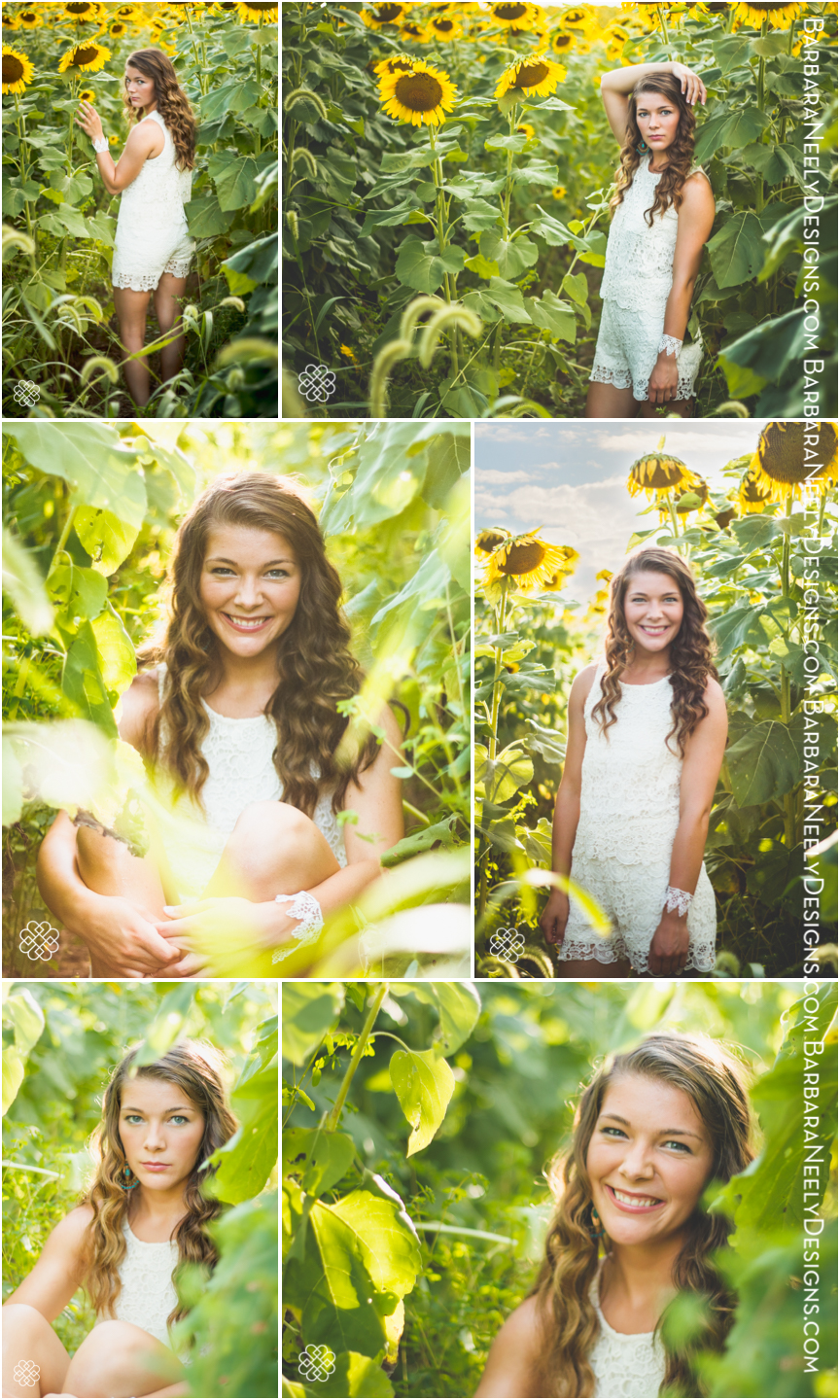 senior spokesmodel in sunflower field
