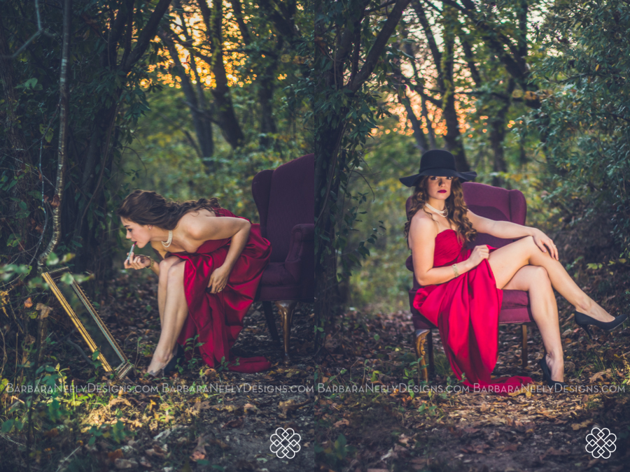 Fairy tale style senior session with girl in red prom dress