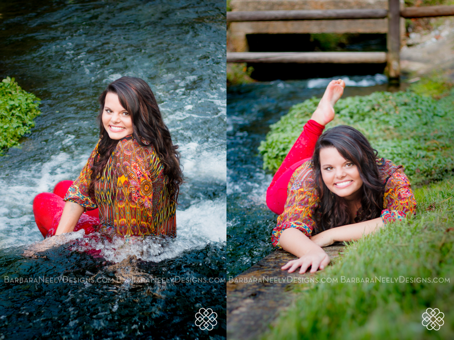 senior girl laughing in water