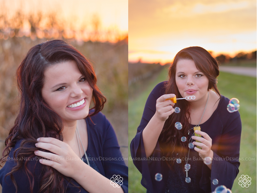 Gorgeous senior girl in blowing bubbles at sunset
