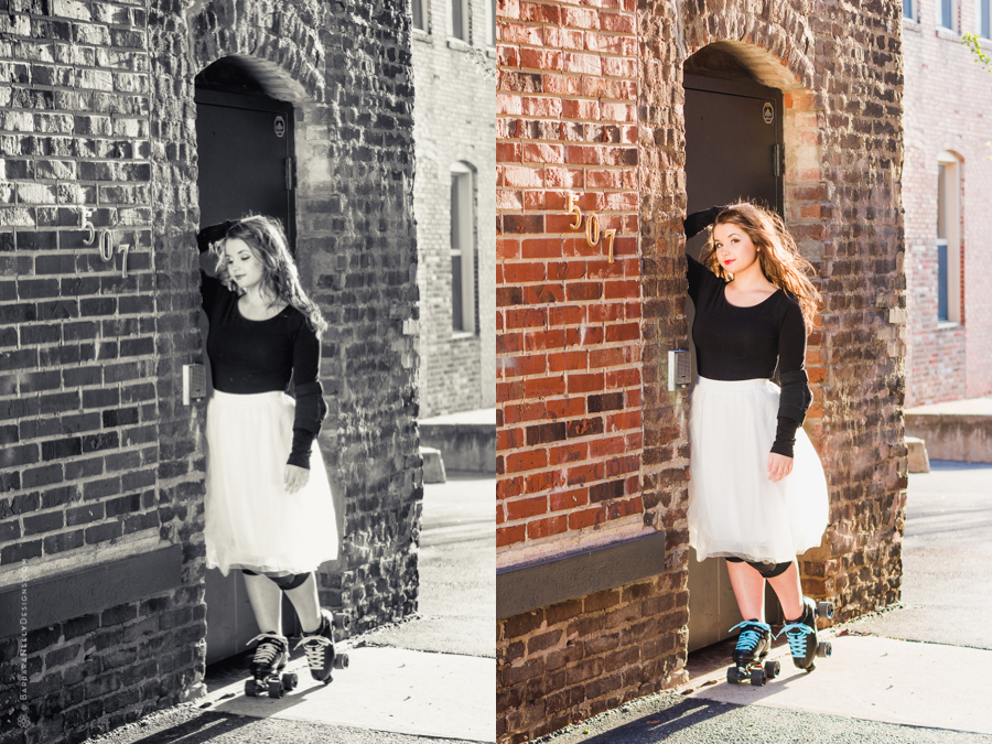 Urban senior girl session with roller skates in front of mural