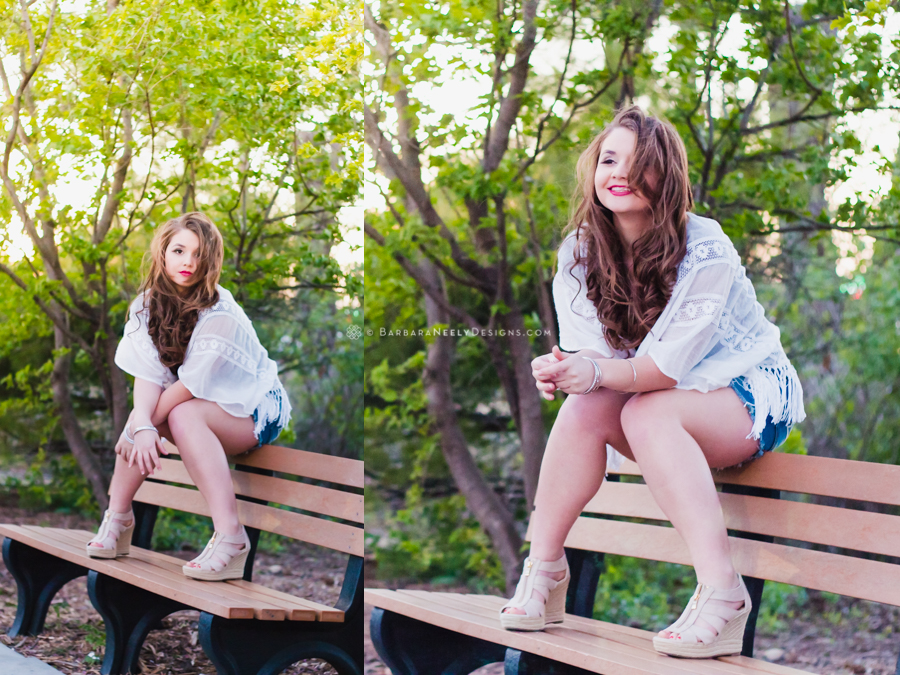 Fashion inspired senior girl portraits on a park bench