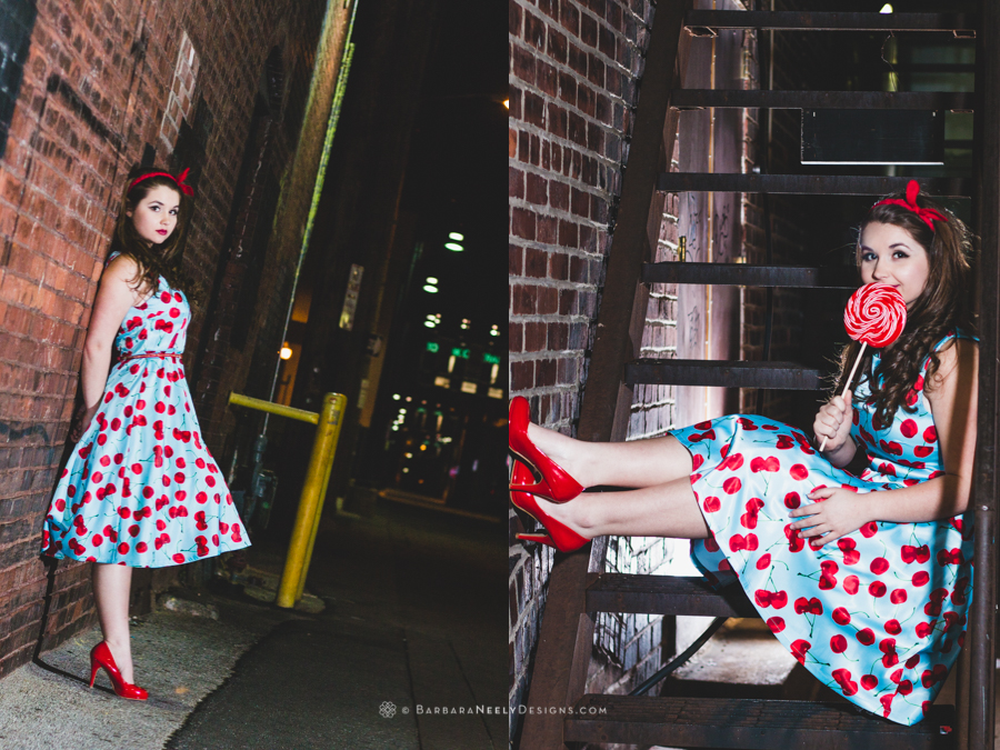 Retro inspired senior girl portrait in urban setting
