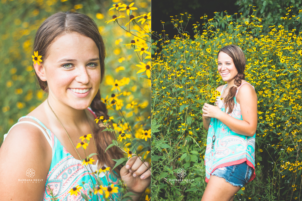 Senior Girl Pictures with flowers in the summer