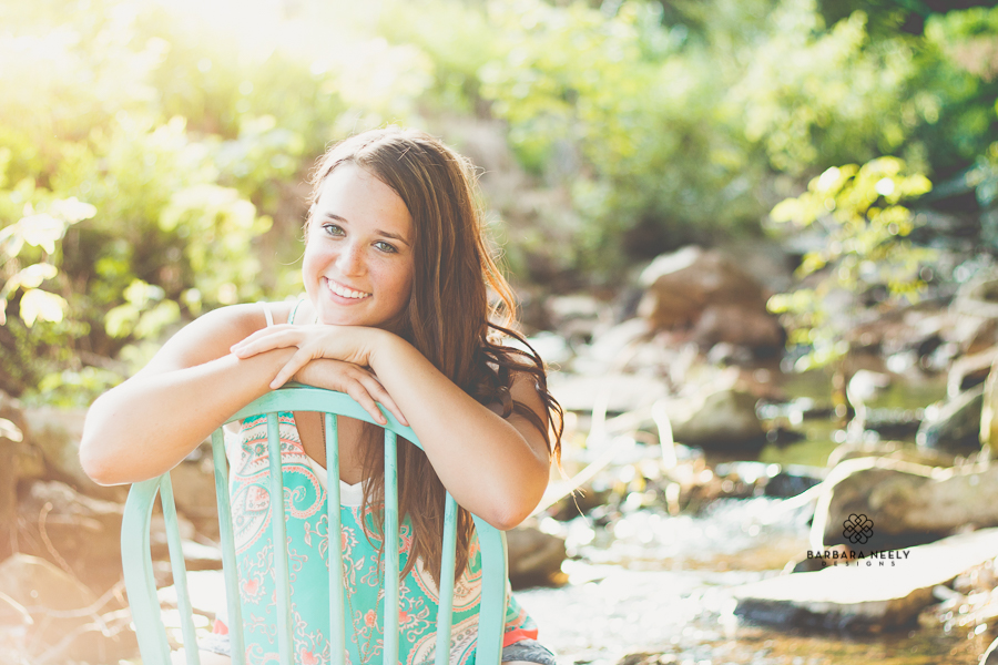 Girl's Senior Pictures shot at the Creek in Southwest Missouri