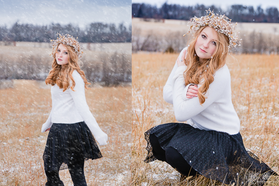 Senior pictures in the snow by southwest mo photographer Barbara Neely.jpg