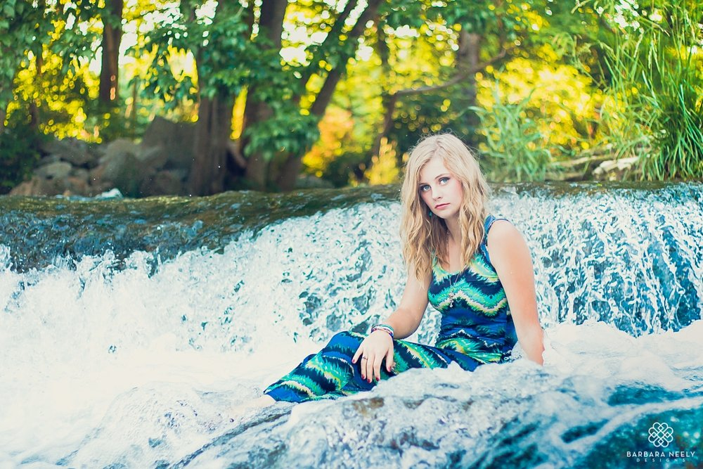 Senior pictures in waterfall by Southwest Missouri Photographer Barbara Neely.jpg