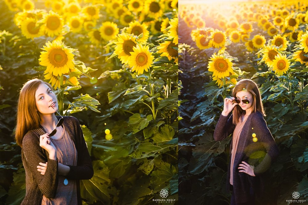 Warm summer teen portraits in a sunflower field by Southwest Missouri photogrpaher Barbara Neely.jpg