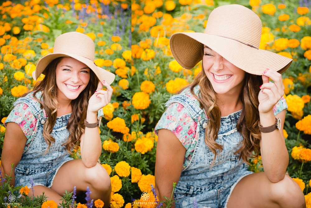 Senior Portraits in a garden of marigolds by Southwest Missouri Photographer Barbara Neely.jpg