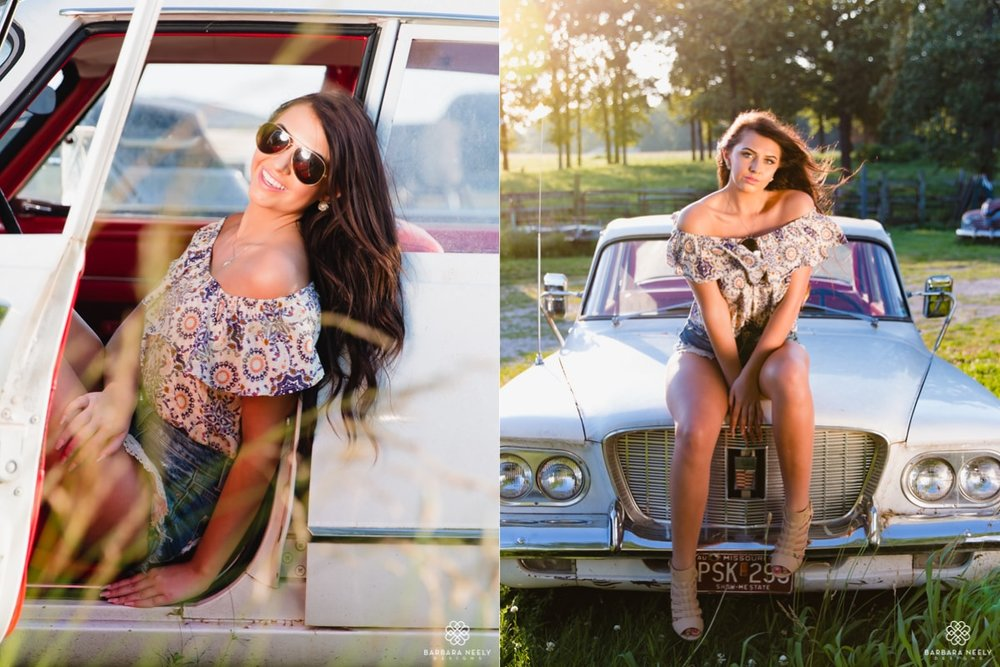 country summer senior pictures with vintage cars in Southwest Missouri.jpg