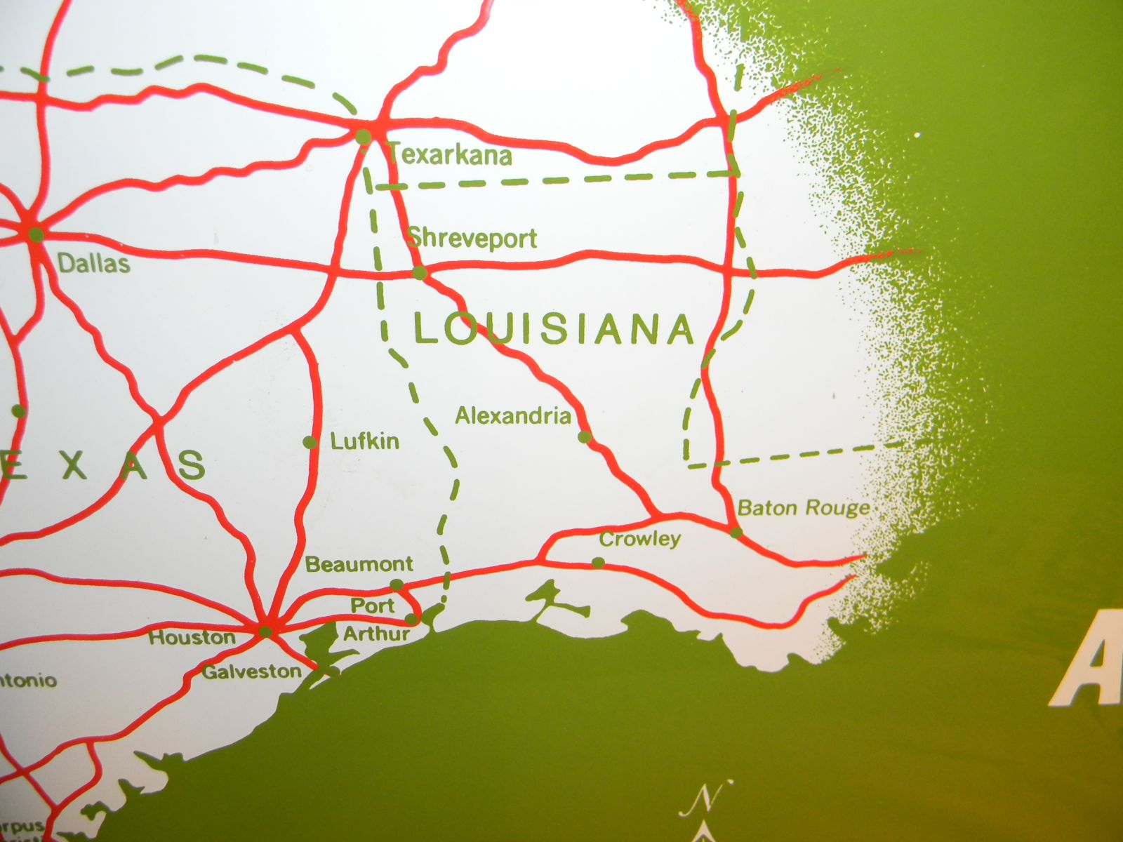 Map Of Texas Louisiana.Texaco Gas Station Road Map Porcelain Sign Texas
