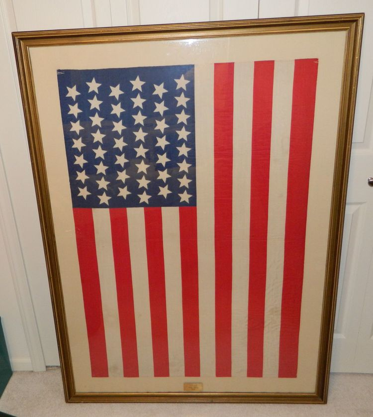 1896 45 Star Silk American Flag Utah Framed under Glass — Vintage ...