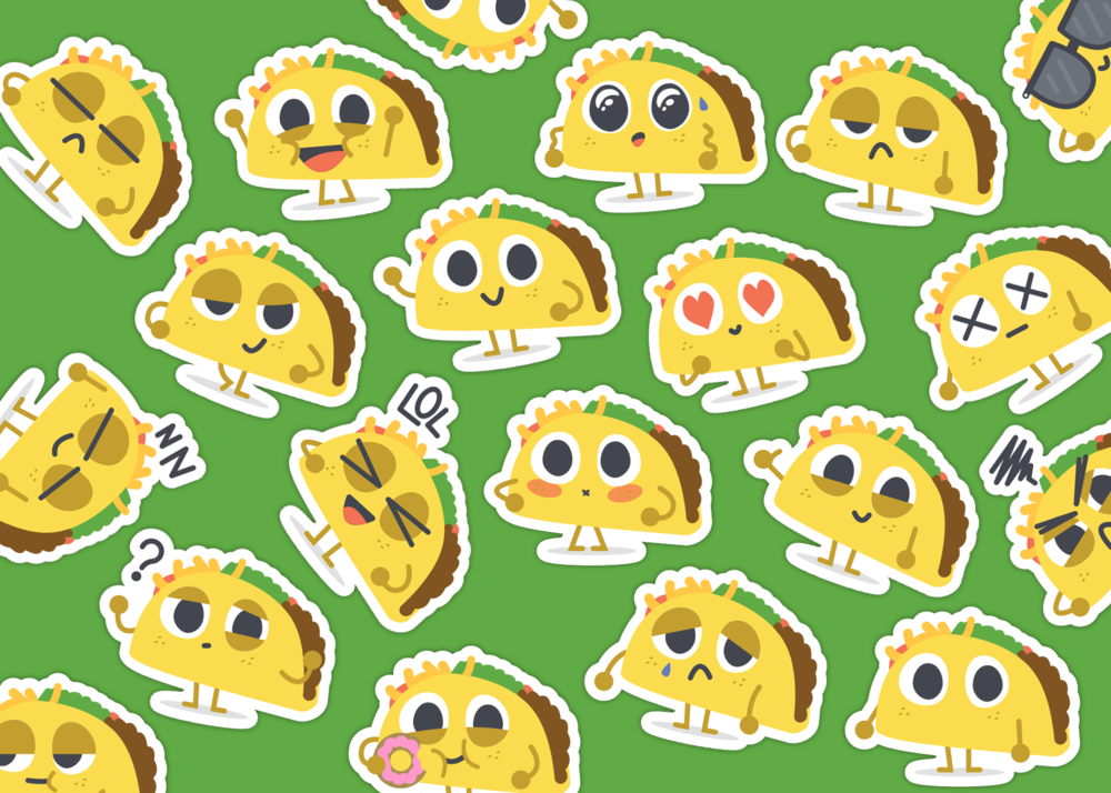 The Execution - It was my goal to create a wide variety of stickers that were colorful, expressive, and most importantly, adorable. Each taco originated as a sketch that I would then recreate in Adobe Illustrator. I was able to maintain visual consistency while also allowing each taco to convey a different emotion and have its own personality.