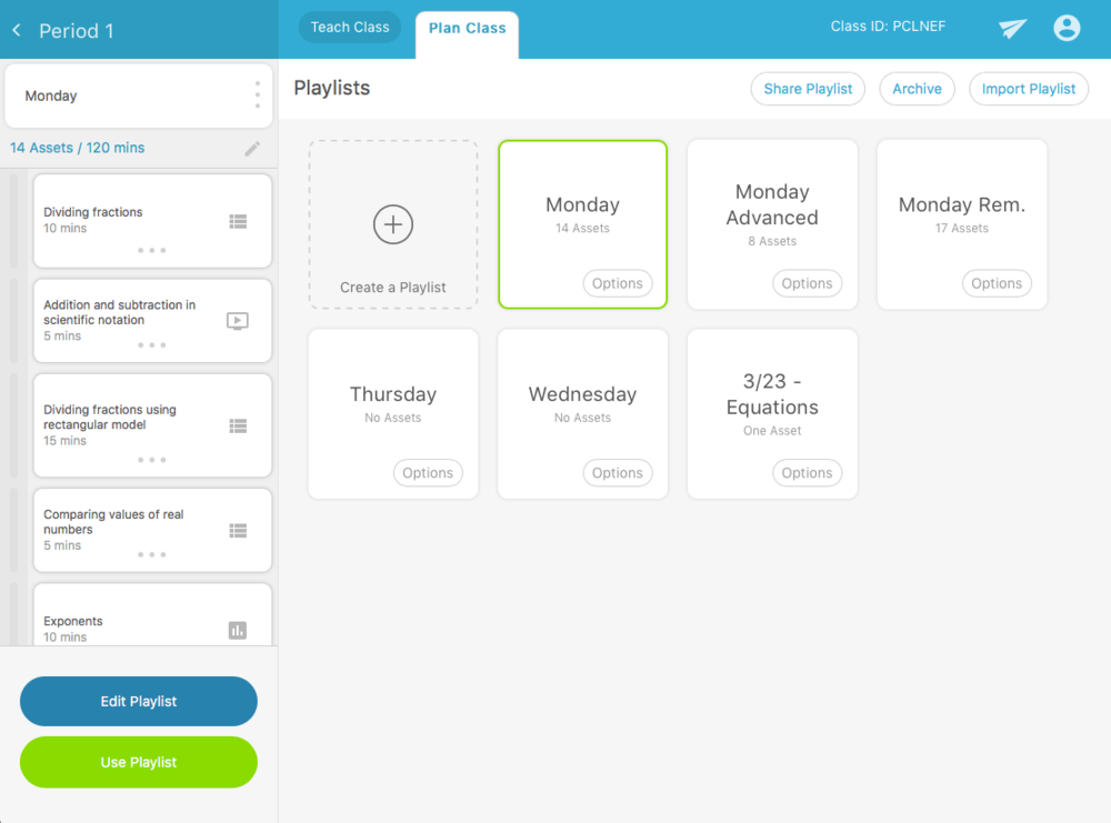 With Playbook, teachers create Playlists to deliver to their students in real time. They search a database of content to add to those playlists, or they can simply connect to Google Docs and download their existing lessons.