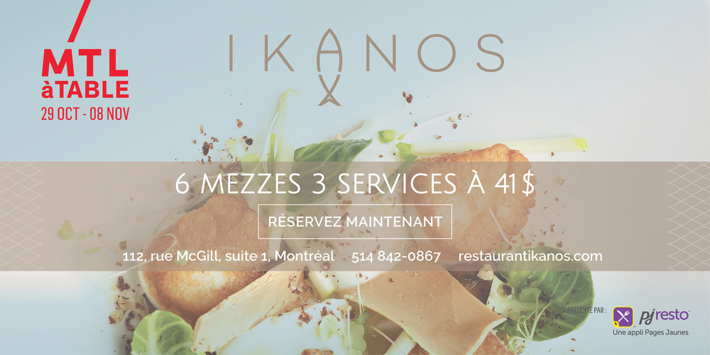 .... Ikanos the best greek mediterranean fish and seafood restaurant is participating in this year's edition of Montreal à table. Nightlife ranks us as one of the best restaurant to attend at this year's festival. Come enjoy our special tasting menu crafted specially for the occasion. .. Ikanos le meilleur restaurant grec méditerranéen de poissons et fruits de mer participe à cette édition de Montréal à table. Nightlife nous classe come un des meilleurs restaurants à visiter pour cette édition. Venez pour notre menu dégustation spécialement créée pour l'occasion. ....