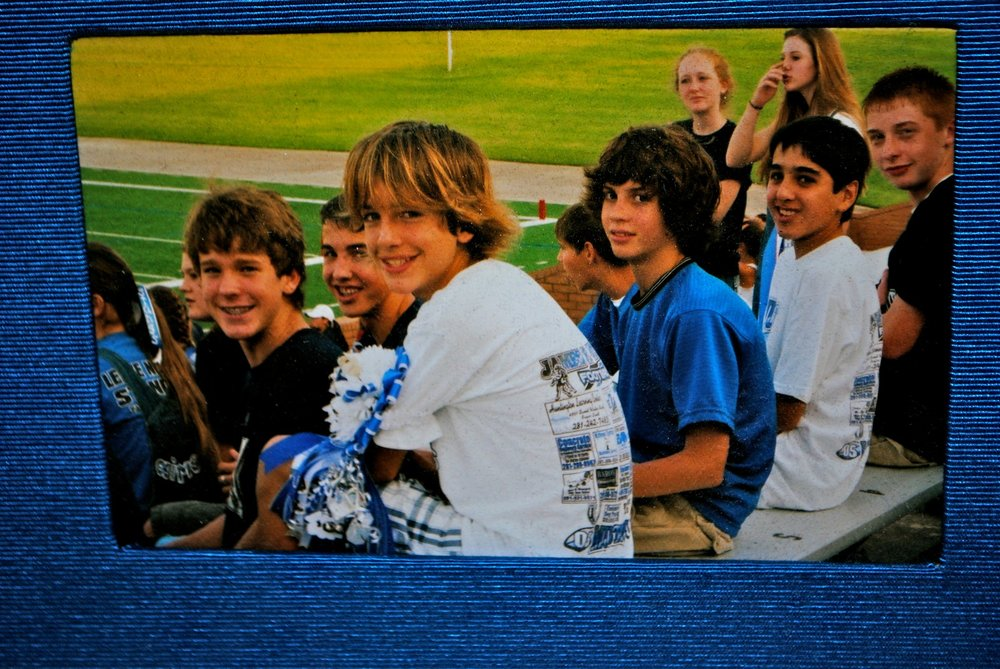 JD (the one in front with the long hair) with youth group and school friends