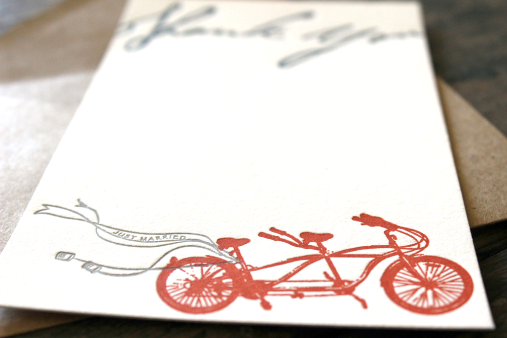 Who doesn't love a bicycle themed wedding? This bride commissioned TLBC to create some custom stationery to use as thank you notes following the wedding's whimsical appaloosa. A tandem bike for two as the bride and groom send their thank yous to all of their guests.