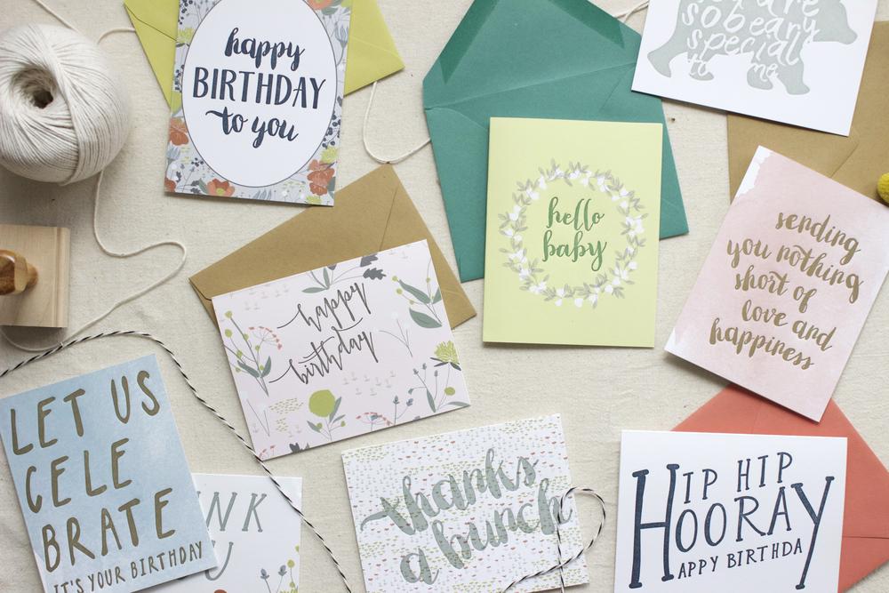"LETTERPRESS GREETING CARDS | digital printing + letterpress printing, 4.25x5.5"" w/envelope"