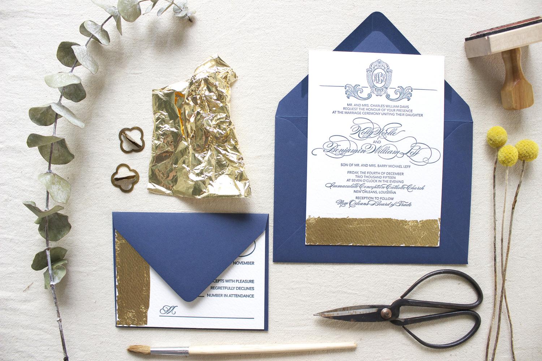 Embling Wedding Invitations | Custom Wedding Invitations Gold Leaf Wedding Invitations For Kelly