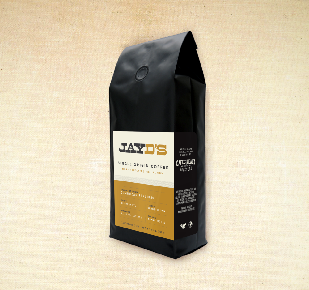 Mock-Up of Jay D's Single Origin Coffee