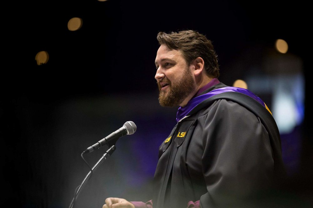 Jay Ducote speaks at LSU's Summer Commencement Ceremony on August 4, 2017