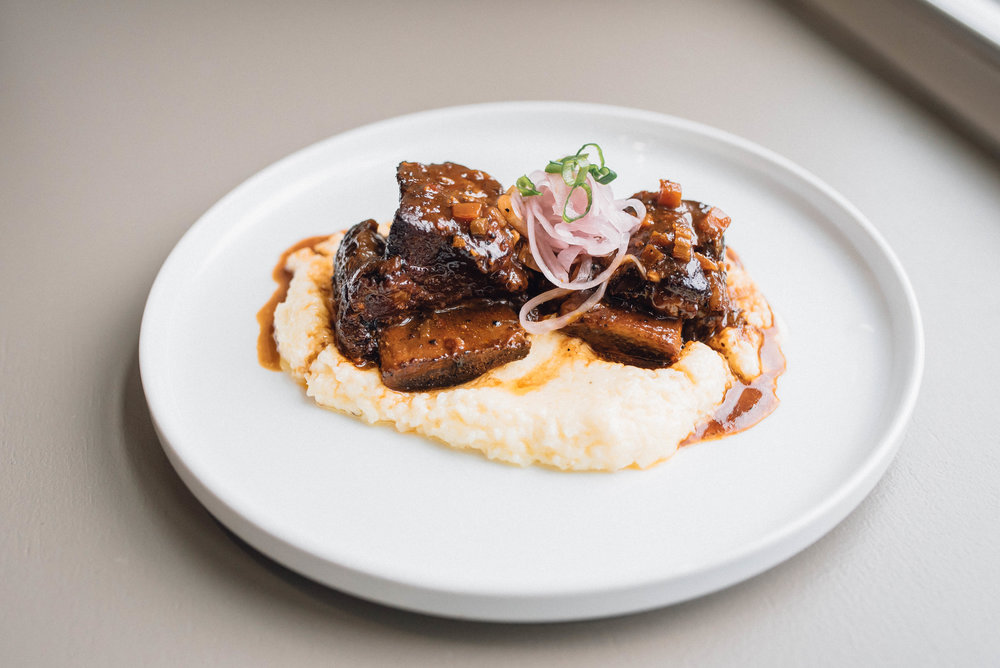 Coffee Chile Rub Braised Beef Short Ribs with Grits