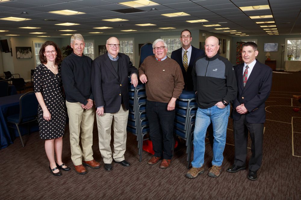 (From left) Shannon Cobb, Ann's Place, Jon Seaman, Seaman Mechanical Services, Joel Third, Rotary Club of Ridgefield, Chris Hoeffel, Rotary Clubs of District 7980, Frank Scahill, Jr., Rotary Club of Danbury, Lee Ogden, H&Y Construction, Charlie O'Neil, Paul Dinto Electrical Contractors. Photo credit: Ann Hermann