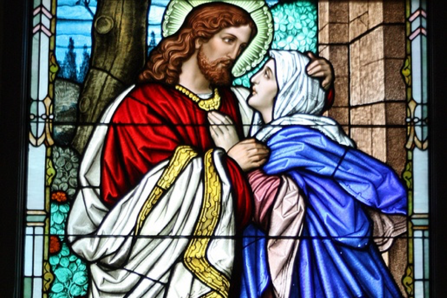 A tender look of love between Jesus and His Mother.   Image taken from:  Saint Paul Catholic Church  in Lexington, KY.