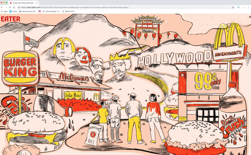 """""""In the Food Swamps of LA, McDonald's Was Our Lifeboat"""" by An Uong  AD: Rafe Bartholomew  Link  here."""