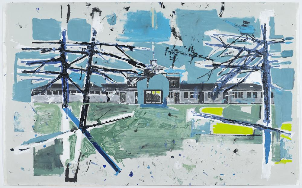 """Paisagem De Erros (2ª Série) #01 - """"Buchenwald"""" Acrílico sobre Papel Fabriano Accademia   400gr/m2 152 x 250 cm Dezembro 2014"""
