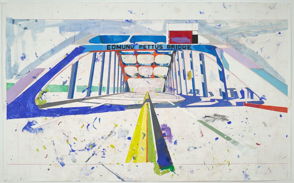 """Paisagem De Erros (2ª Série) #05 - """"Edmund Pettus Bridge"""" Acrílico sobre Papel Fabriano Accademia   400gr/m2 152 x 250 cm Maio 2015"""